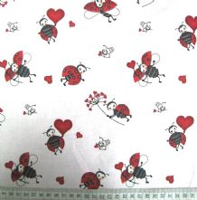100% Cotton Ladybirds and Hearts Print on Pale Blue Fabric x 0.5m